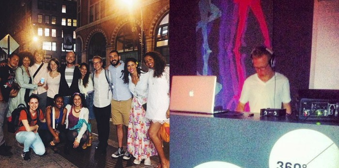 Friends and I out for dinner in NYC. Me DJing in Prague.