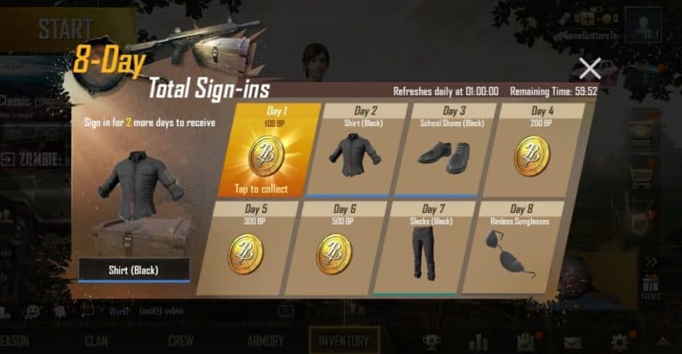 PUBG Mobile Daily Streak