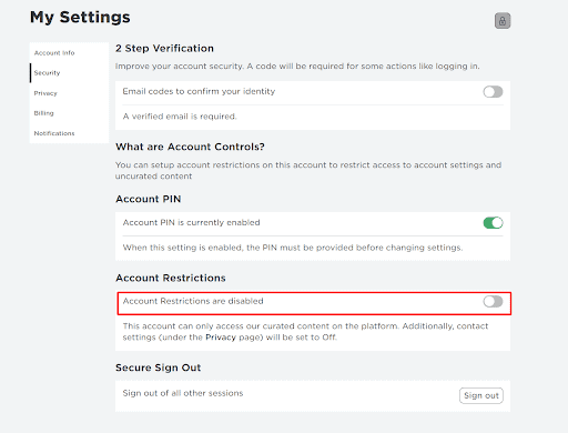 enable roblox parental controls